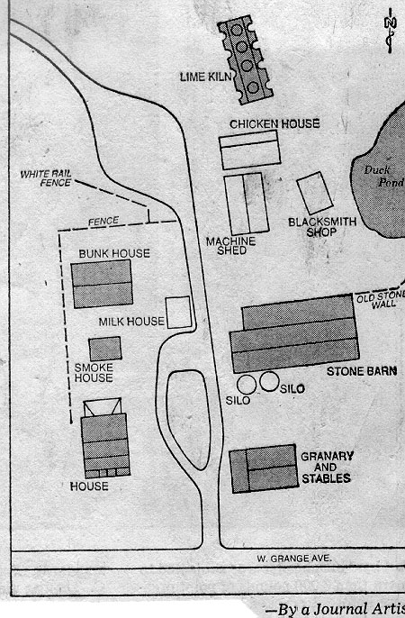 map showing farm buildings